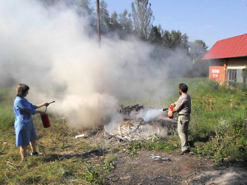 Тушение условного пожара огнетушителями ОП-4 и ОУ-3
