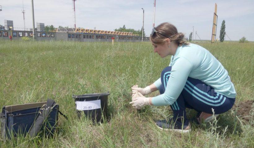 Отбор почвенных объединённых проб на объекте осуществляет ведущий агрохимик Наталья Махалина