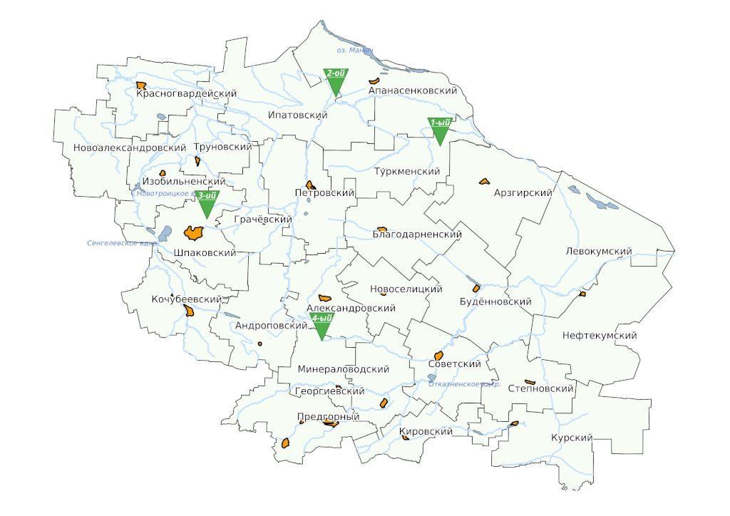 Схема расположения опытных участков на территории Ставропольского края